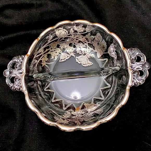 VINTAGE STERLING SILVER OVERLAY DEVIDED GLASS BOWL
